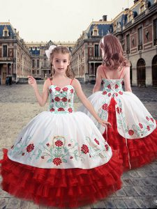 White and Red Little Girl Pageant Dress Party and Wedding Party with Embroidery and Ruffles Straps Sleeveless Lace Up
