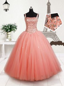 Hot Selling Straps Sleeveless Beading Lace Up Little Girls Pageant Gowns