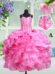 Discount Rose Pink Ball Gowns Straps Sleeveless Organza Floor Length Lace Up Beading and Ruffles and Pick Ups Little Girl Pageant Dress
