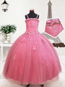 Hot Pink Ball Gowns Straps Sleeveless Tulle Floor Length Zipper Beading and Appliques Pageant Gowns For Girls