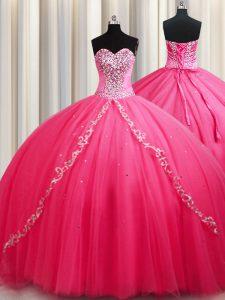 On Sale Hot Pink Lace Up Sweetheart Beading Sweet 16 Dresses Tulle Sleeveless Brush Train