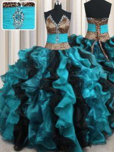 Elegant Leopard Two Tone V-neck Sleeveless Lace Up Sweet 16 Dress Multi-color Organza