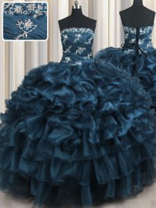 Suitable Navy Blue Sweet 16 Dresses Military Ball and Sweet 16 and Quinceanera with Appliques and Ruffles and Ruffled Layers Strapless Sleeveless Lace Up