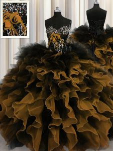 Super Multi-color Lace Up Vestidos de Quinceanera Beading and Ruffles Sleeveless Floor Length