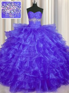 Customized Purple Organza Lace Up Ball Gown Prom Dress Sleeveless Floor Length Beading and Ruffled Layers