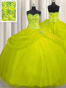 Vintage Really Puffy Yellow Green Tulle Lace Up Quinceanera Dresses Sleeveless Floor Length Beading