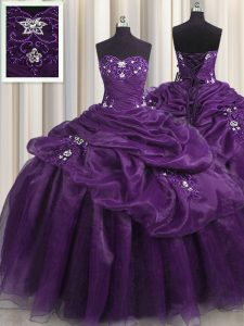 Sleeveless Floor Length Beading and Appliques and Ruffles Lace Up Sweet 16 Dress with Purple