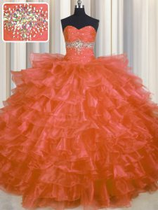 Custom Fit Orange Red Quince Ball Gowns Military Ball and Sweet 16 and Quinceanera with Beading and Ruffled Layers Sweetheart Sleeveless Lace Up