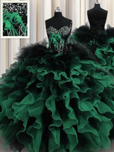 Dynamic Multi-color Sweetheart Neckline Beading and Ruffles Quinceanera Dresses Sleeveless Lace Up