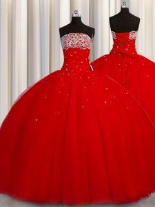 Flirting Puffy Skirt Red Lace Up Strapless Beading and Sequins 15 Quinceanera Dress Organza Sleeveless