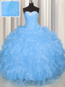 Fabulous Organza Sweetheart Sleeveless Lace Up Beading and Ruffles Quinceanera Gown in Baby Blue
