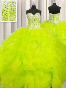 Visible Boning Beaded Bodice Sweetheart Sleeveless Quinceanera Dress Floor Length Beading and Ruffles Yellow Organza