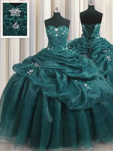 Admirable Sleeveless Floor Length Beading and Appliques and Ruffles Lace Up Ball Gown Prom Dress with Teal