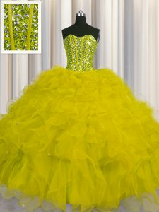 Visible Boning Tulle Sweetheart Sleeveless Lace Up Beading and Ruffles and Sequins 15th Birthday Dress in Yellow