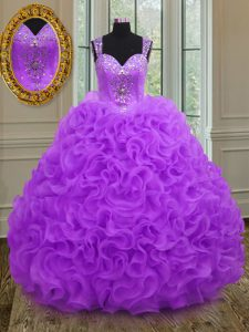 Straps Floor Length Ball Gowns Sleeveless Purple Quinceanera Gown Zipper