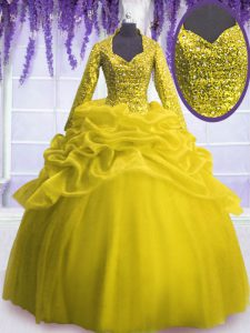 Perfect Yellow V-neck Neckline Sequins and Pick Ups Quinceanera Gowns Long Sleeves Zipper