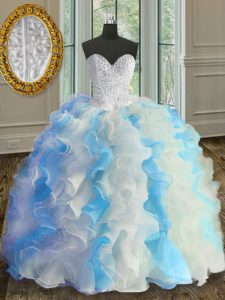 Comfortable Blue And White Ball Gowns Beading and Ruffles Sweet 16 Dress Lace Up Organza Sleeveless Floor Length