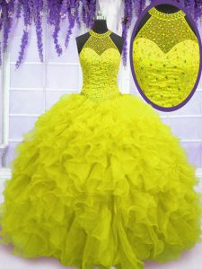 Sweet Yellow Ball Gowns Beading and Ruffles Quince Ball Gowns Lace Up Organza Sleeveless Floor Length