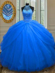 Halter Top Floor Length Royal Blue Quinceanera Dresses Tulle Sleeveless Beading
