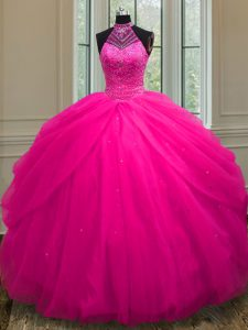 Halter Top Hot Pink Ball Gowns Beading and Sequins 15th Birthday Dress Lace Up Tulle Sleeveless Floor Length