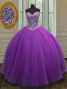 Floor Length Lace Up Vestidos de Quinceanera Eggplant Purple for Military Ball and Sweet 16 and Quinceanera with Beading