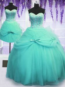 Perfect Three Piece Aqua Blue Ball Gowns Tulle Sweetheart Sleeveless Beading and Bowknot Floor Length Lace Up 15 Quinceanera Dress