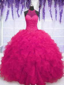 Suitable Sleeveless Organza Floor Length Lace Up Quinceanera Gowns in Hot Pink with Beading and Ruffles