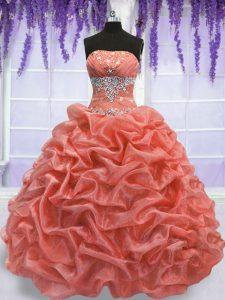 Strapless Sleeveless Organza 15th Birthday Dress Beading Lace Up