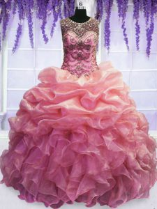 Flirting Baby Pink Scoop Neckline Beading and Pick Ups Quinceanera Dresses Sleeveless Lace Up