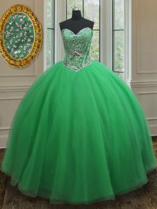 Amazing Green Sleeveless Beading Floor Length 15th Birthday Dress