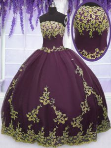 New Style Sleeveless Floor Length Appliques Zipper Sweet 16 Quinceanera Dress with Purple