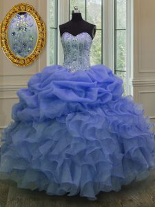 Floor Length Lace Up Quinceanera Gowns Blue for Military Ball and Sweet 16 and Quinceanera with Beading and Pick Ups