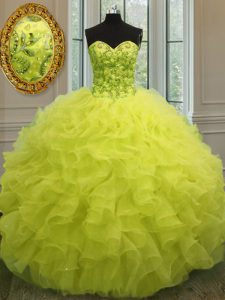 Sleeveless Floor Length Beading and Ruffles Lace Up Vestidos de Quinceanera with Yellow