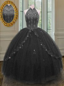 High-neck Sleeveless Lace Up Sweet 16 Quinceanera Dress Black Tulle