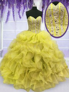 Yellow Lace Up Sweetheart Beading and Ruffles Sweet 16 Dresses Organza Sleeveless