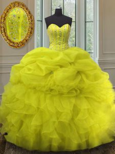 Charming Pick Ups Floor Length Ball Gowns Sleeveless Yellow Quinceanera Dress Lace Up