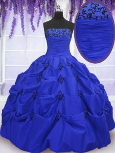 Sumptuous Royal Blue Ball Gowns Taffeta Strapless Sleeveless Embroidery and Pick Ups Floor Length Lace Up 15 Quinceanera Dress