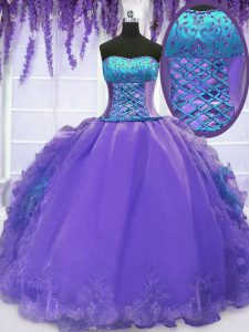 Floor Length Ball Gowns Sleeveless Lavender Ball Gown Prom Dress Lace Up