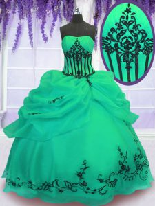 Fancy Green Strapless Neckline Embroidery Quince Ball Gowns Sleeveless Lace Up