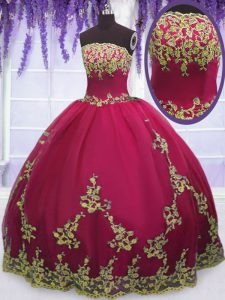 Beauteous Floor Length Zipper Quinceanera Dresses Fuchsia for Military Ball and Sweet 16 and Quinceanera with Appliques