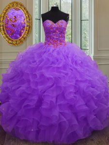 Edgy Sleeveless Organza Floor Length Lace Up Quince Ball Gowns in Purple with Beading and Ruffles