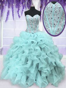 Pretty Light Blue Ball Gowns Sweetheart Sleeveless Organza Floor Length Lace Up Beading and Ruffles Vestidos de Quinceanera