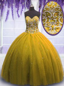 Ball Gowns Quinceanera Dress Brown Sweetheart Tulle Sleeveless Floor Length Lace Up