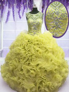 Luxury Scoop Floor Length Ball Gowns Sleeveless Yellow 15 Quinceanera Dress Lace Up