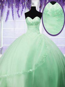 Decent Lace Up Quinceanera Dress Appliques Sleeveless Floor Length
