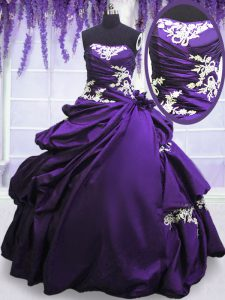 Romantic Purple Strapless Lace Up Appliques and Pick Ups Sweet 16 Quinceanera Dress Sleeveless