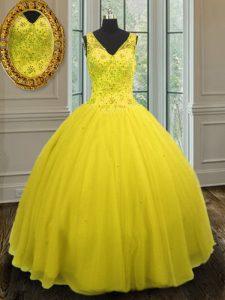 Yellow V-neck Zipper Beading 15 Quinceanera Dress Sleeveless