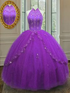 High-neck Sleeveless Tulle Quinceanera Dress Beading and Appliques Lace Up