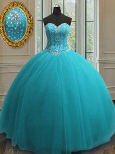 Most Popular Aqua Blue Lace Up Sweetheart Beading Sweet 16 Dress Tulle Sleeveless