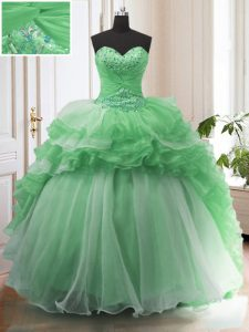 Fancy Ruffled Green Sleeveless Organza Sweep Train Lace Up Sweet 16 Dresses for Military Ball and Sweet 16 and Quinceanera
